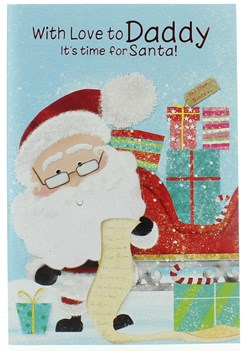 "Daddy Christmas Card - Cute Santa With List Sleigh Gifts & Glitter 7.5"" x 5.25"""