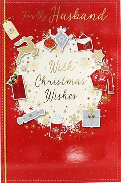 "Husband Christmas Card - Traditional Red Jumper, Mug, Baubles & Presents 9"" x 6"""