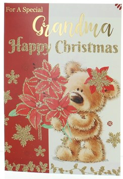Grandma Christmas Card - Bear with Poinsettia Gold Glitter and Foil 7.5x5.25""