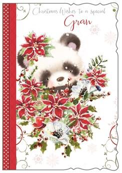 """Gran Christmas Card - Cute Panda, Poinsettia Bouquet & Snowflakes 7.75"""" x 5.25"""""""