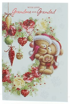 Grandma & Grandad Christmas Card Cute Bears Flowers Baubles & Glitter 7.5x5.25""