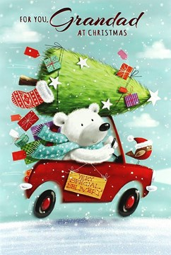 "Grandad Christmas Card - Cute Polar Bear, Robin, Red Car & Big Tree 7.5"" x 5.25"""