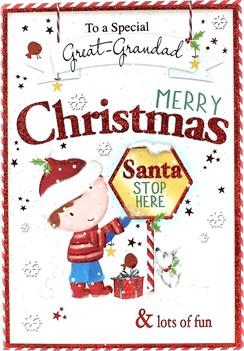 "Great Grandad Christmas Card - Cute Brunette Little Boy & Stop Sign 7.5"" x 5.25"""