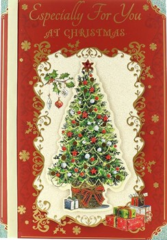 "Open Christmas Card - Traditional Xmas Tree, Presents & Snowflakes 9.75"" x 6.75"""