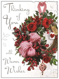 "Jonny Javelin Thinking Of You Christmas Card - Xmas Wreath & Roses 7.25"" x 5.5"""
