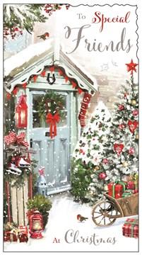"Jonny Javelin Friends Christmas Card - Blue Door, Robins & Xmas Trees 9"" x 4.75"""