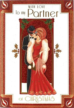 "Partner Christmas Card - Traditional Glamorous Couple & Archway 9.75"" x 6.75"""