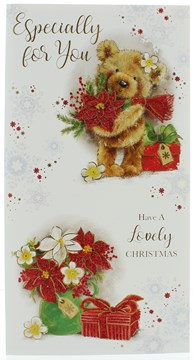 Open Christmas Card - Cute Santa Bear With Flowers, Gifts & Glitter  9 x 4.75""