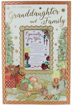 """Granddaughter & Family Christmas Card with Verse Baubles Gold Foil Glitter 9x6"""""""