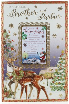 """Brother & Partner Christmas Card - Reindeers in Snow with Glitter & Foil 9x6"""""""