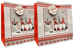 Set of 2 Midi Jumbo Christmas Gift Bags with Rope Handle & Tag - Bearded Gnomes
