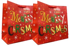 Set of 2 Midi Jumbo Christmas Gift Bags With Handle & Tag - Merry Christmas