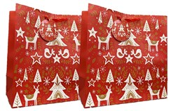 Set Of 2 Midi Jumbo Christmas Gift Bags With Handle & Tag - Modern Reindeer Tree