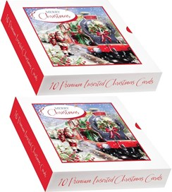 2 x Box Of 10 Winter Scenic Premium Inserted Christmas Cards - Santa Express