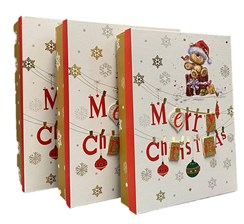 Set of 3 Shirt Christmas Oblong Nested Gift Boxes 3D Attachment Cute Santa Bear