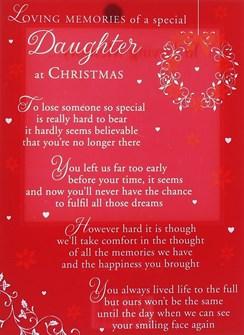 "Loving Memory Christmas Graveside Memorial Card - Special Daughter 6.5"" x 4.75"""