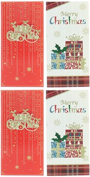 Pack Of 4 Christmas Money Wallet Gift Cards & Envelopes - Bright Merry Christmas