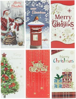 Pack Of 6 Christmas Money Wallet Gift Cards & Envelopes - Traditional