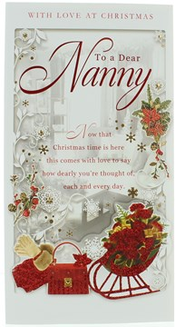 """Nanny Christmas Card - Red Glitter Sleigh & Bag with Xmas Flowers 9x4.75"""""""