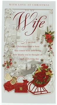 Wife Christmas Card - Red Glitter Sleigh And Handbag With Xmas Flowers 9 x 4.75""