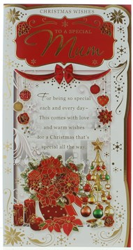 """Mum Christmas Card- Traditional Red Xmas Flowers Bauble Tree Gold  9x4.75"""""""