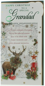 "Grandad Christmas Card - Deer , Wreath Gifts And Gold Foil  9"" x 4.75"""