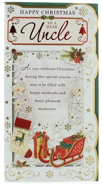 """Uncle Christmas Card - A Red Sleigh Gifts & A Stocking With Foil  9""""x4.75"""