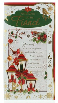 Fiance Christmas Card -  Red  Lanterns Robins & Gold Foil  9 x 4.25""