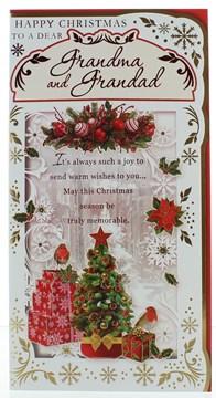 "Nan & Grandad Christmas Card - Xmas Tree Gifts Robbins Red Foil 9""x4.75"""