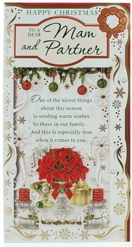 "Mam & Partner Christmas Card - Poinsettia Plant Gifts Candles & Foil   9""x4.75"""