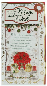 "Mum & Dad Christmas Card - Poinsettia Candles Gift Baubles & Foil Detail 9""x4.75"