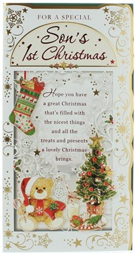 Son's First Christmas Card - Teddy Tree & Biscuits With Foiled Detail  9 x 4.75""