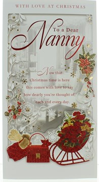 "Nanny Christmas Card - Red Glitter Sleigh & Bag With Xmas Flowers  9"" x 4.75"""