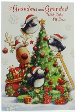 """Grandma & Grandad Christmas Card - Cute Penguin & Reindeer, Tree   7.5"""" x 5.25"""""""
