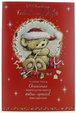 "Wife Christmas Card - Cute Bear With Hat Gifts Silver Foil Glitter 9.75"" x 6.75"""