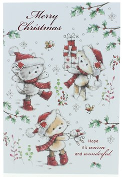 """Open Christmas Card - Kittens in Santa Hats with Red Wellies & Glitter 7.5x5.25"""""""