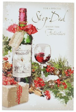 """Stepdad Christmas Card - Bottle of Red Wine & Gift with Glitter & Foil 9"""" x 6"""""""