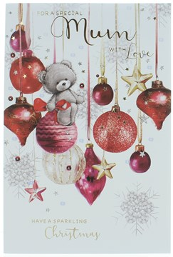 "Mum Christmas Card - Baubles & A Bear With Glitter Stars & Foil  9"" x 6"""