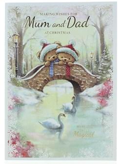 "Mum & Dad Christmas Card - Bears In Santa Hats on Bridge Glitter & Foil 10"" x 7"""