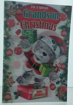 Grandson Christmas Card & Envelope - 3D Animated Holographic Bear 9 x 6.25""