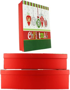Set Of 3 Shirt Christmas Oblong Nested Gift Boxes - Modern Merry Xmas Baubles