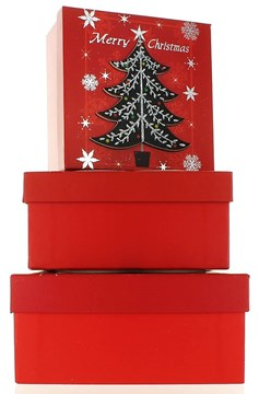 Set Of 3 Medium Christmas Square Nested Gift Boxes - Modern Red Black Xmas Tree