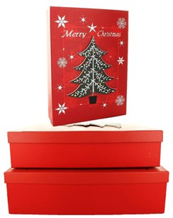 Set Of 3 Shirt Christmas Oblong Nested Gift Boxes - Modern Red & Black Xmas Tree