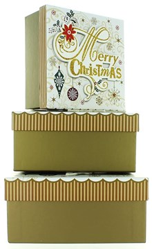 Set Of 3 Medium Christmas Square Nested Gift Boxes - Modern Gold Xmas Snowflakes