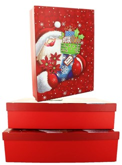 Set Of 3 Shirt Christmas Oblong Nested Gift Boxes - Cute Santa Claus & Stocking