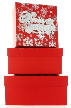 Set Of 3 Medium Christmas Square Nested Gift Boxes - Modern Merry Xmas Snowflake