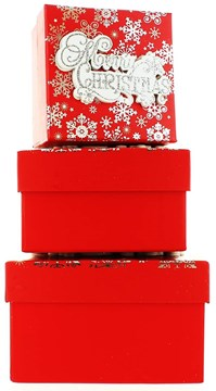 Set Of 3 Small Christmas Square Nested Gift Boxes - Modern Merry Xmas Snowflakes