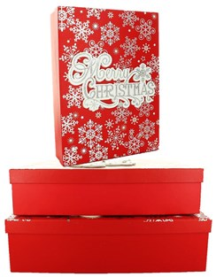 Set Of 3 Shirt Christmas Oblong Nested Gift Boxes - Modern Merry Xmas Snowflakes