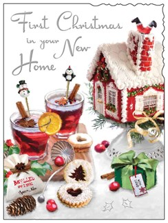 """Jonny Javelin First Christmas In Your New Home Card  - Mulled Wine  7.25 x 5.5"""""""