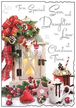 "Jonny Javelin Son & Daughter-in-Law Christmas Card - Lantern & Mugs 9"" x 6.25"""